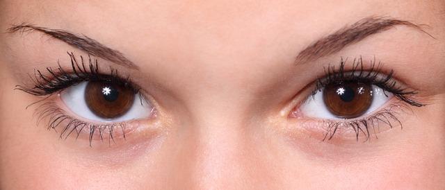detail hnědých očí
