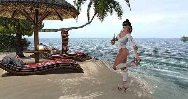animovaná žena na pláži