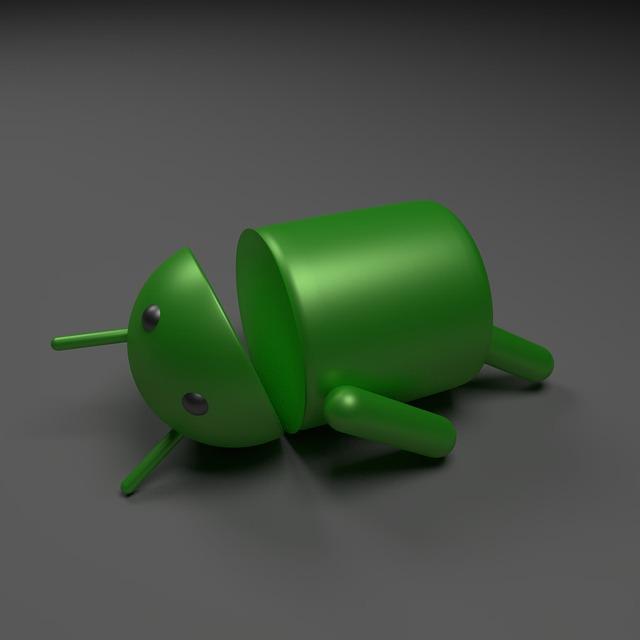 Android logo, zelená postavička leží na zemi.jpg